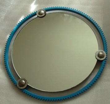 Car Part Art, ring gear mirror, found art, wall hanging art mirror