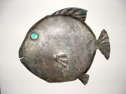 fish sculpture, car art fish sculpture, found art fish sculpture, blue eye fish